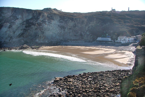 St Agnes Beach and Ruins of Harbour
